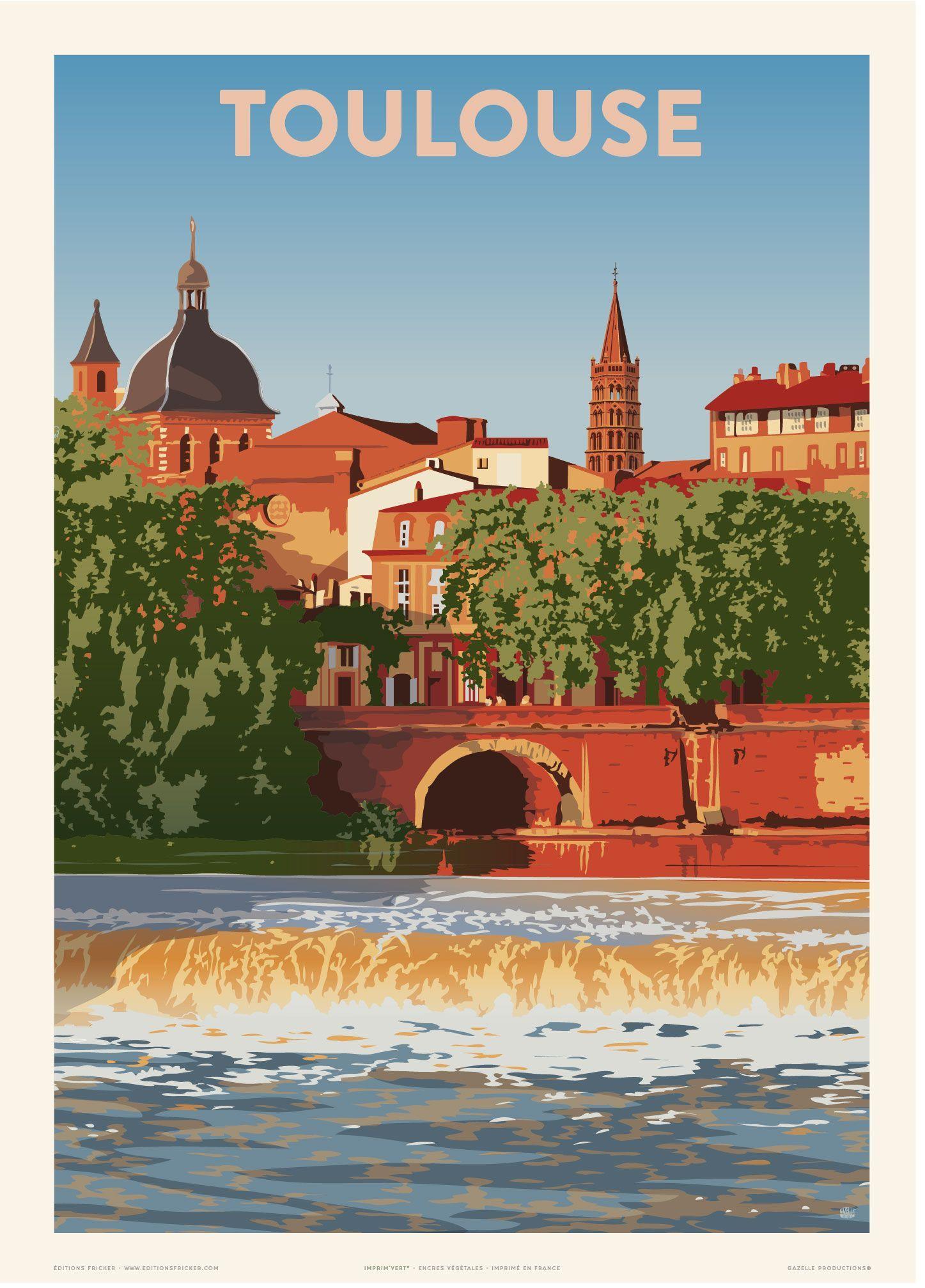 Toulouse St Sernin Travel Poster Vintage Poster Gazelle