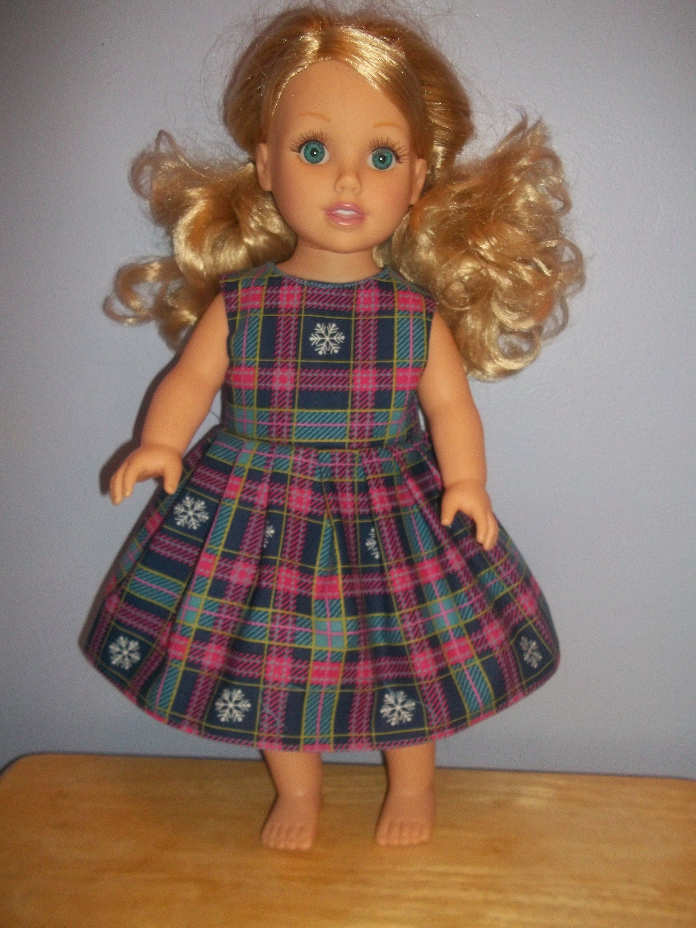 American 18 Inch Doll Clothes dress blue and pink with Snowflakes #18inchdollsandclothes