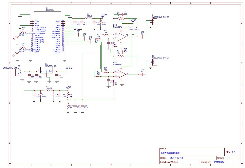 BK8000L Bluetooth audio - EasyEDA | Arduino, ESP32, ESP8266