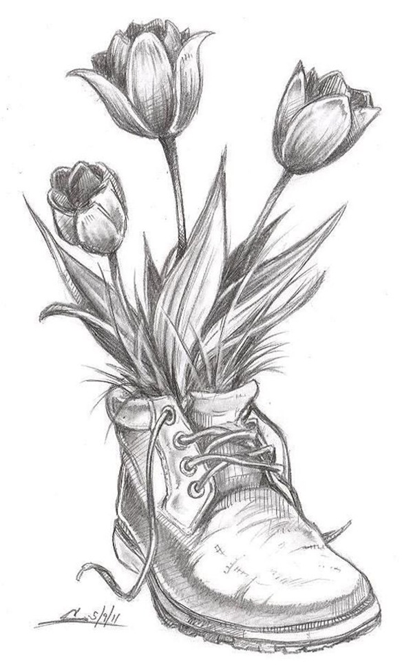 50 Easy Flower Pencil Drawings For Inspiration Pencil Drawings Of Flowers Flower Sketches Art Drawings Sketches