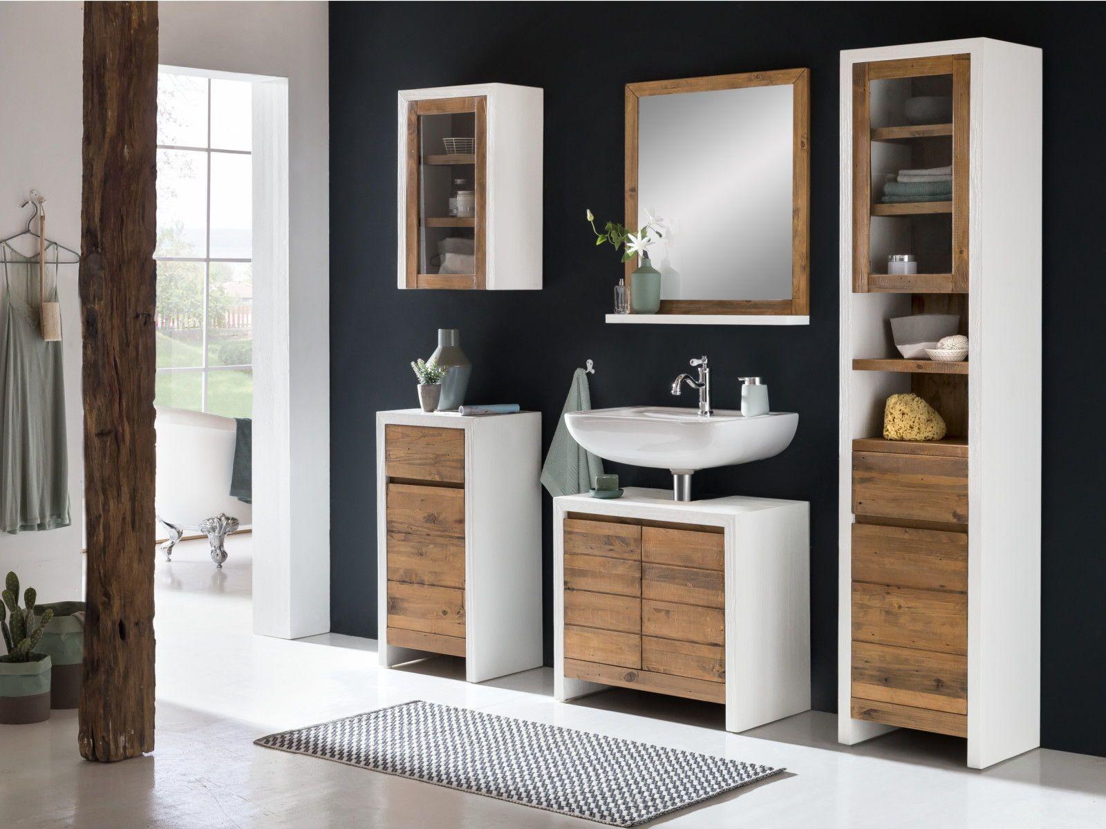 Woodkings Shop Waschbeckenunterschrank Badezimmermobel Holz Bad Set