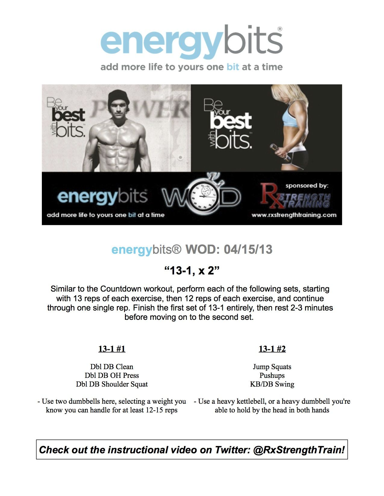@ENERGYbits #WOD is up! Check it out here and be sure to let us know how you do! Contact Jeff @Rx Strength Training® with any questions!