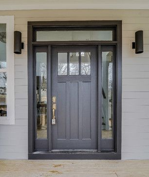 Front door design craftsman charm exterior sherwin williams black magic door with polish brass - Black craftsman front door ...