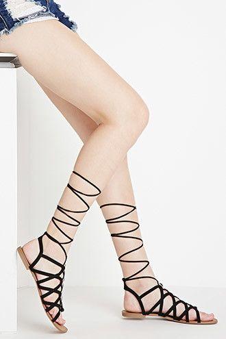 adaed5bac90a Faux Suede Lace-Up Sandals