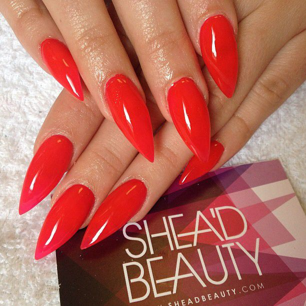 Sharp Red Stiletto Nails Bright Red Nails Red Nails Red Stiletto Nails
