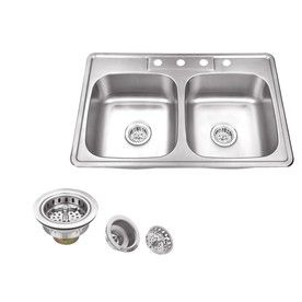 Superior Sinks 33 In X 22 In Brushed Satin 2 Stainless Steel Drop In With Images Stainless Steel Double Bowl Kitchen Sink Double Bowl Kitchen Sink Gooseneck Kitchen Faucet