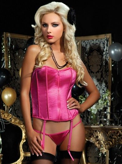 2e9b347052e Zip-front lace-up back corset with boning and thong. pin up jubilee ...