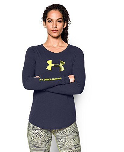Under Armour Womens UA Stripe Logo Long Sleeve Large BLUE KNIGHT *** Check out this great product.(This is an Amazon affiliate link and I receive a commission for the sales)