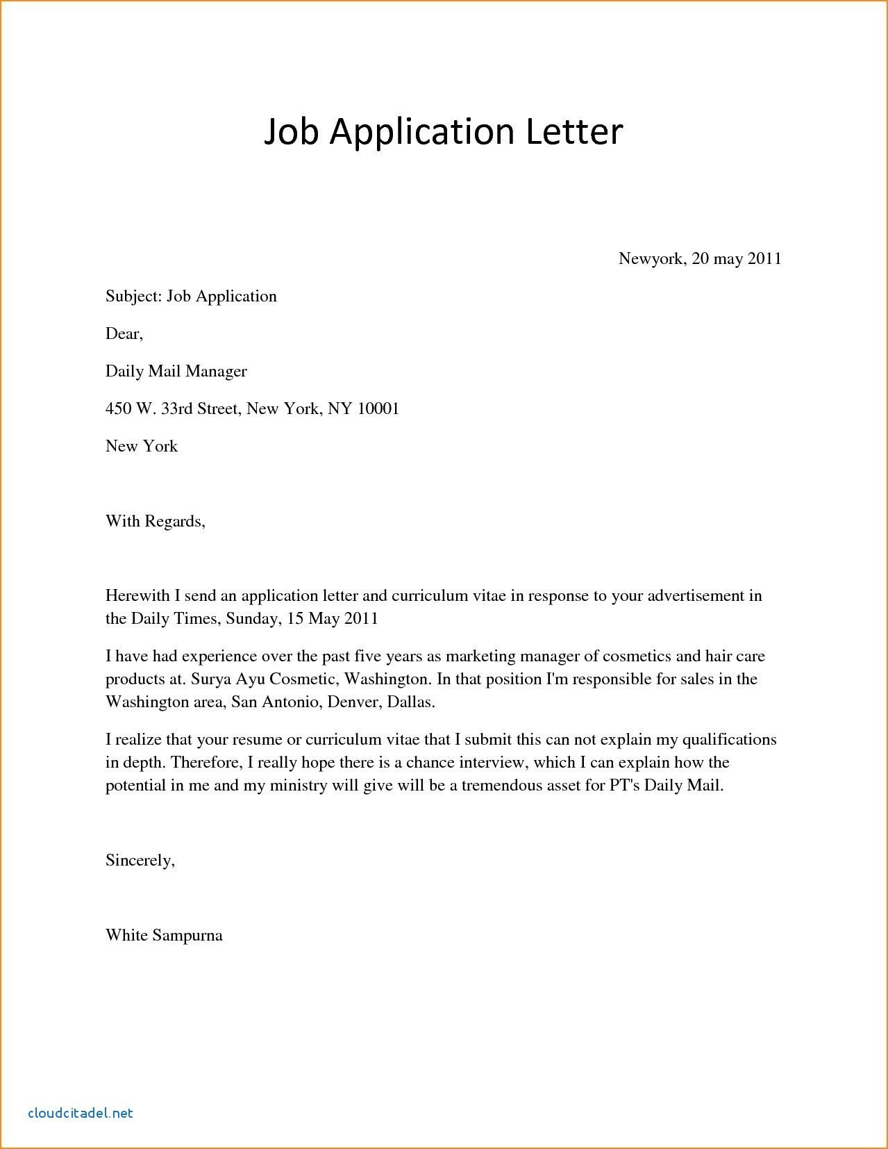 Valid Government Job Application Letter Simple job
