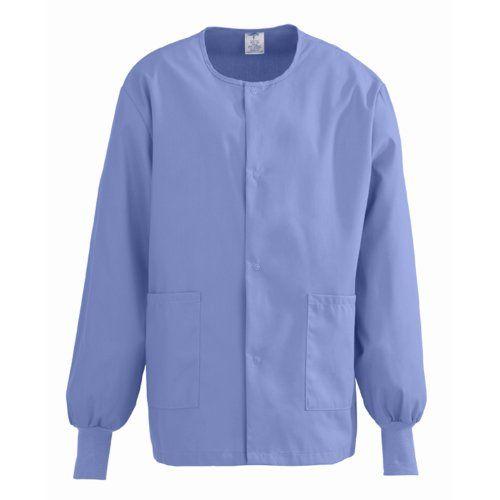 Medline ComfortEase Unisex Warm Up Scrub Jacket, X Small, Ceil Blue