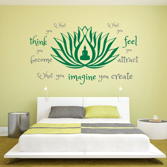 wall decal quote what you think become feel attract imagine create