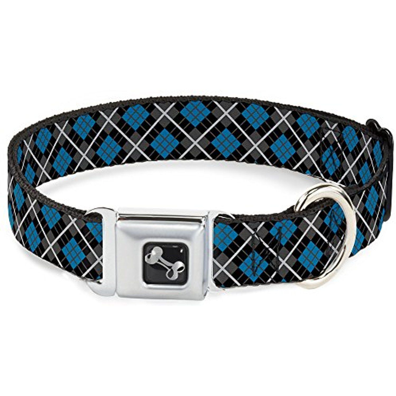 BuckleDown Argyle Black/Gray/Turquoise Dog Collar Bone