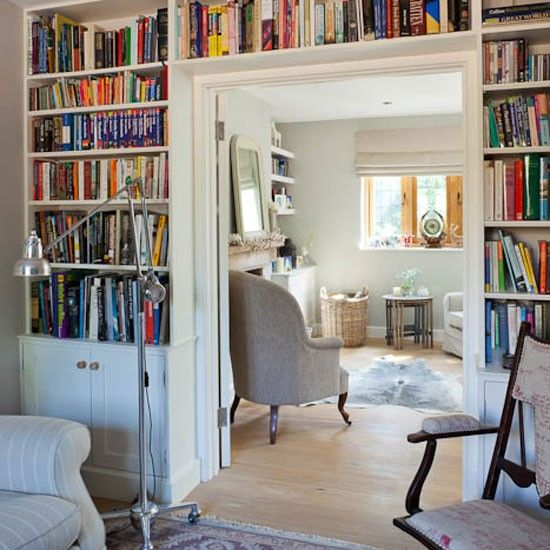 Built in bookcases around double doorway in study | Country house | Homes &  Gardens | - Built In Bookcases Around Double Doorway In Study Country House