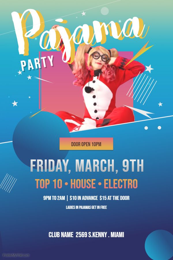 Pajama party flyer/poster design template | Pajama Party Poster ...