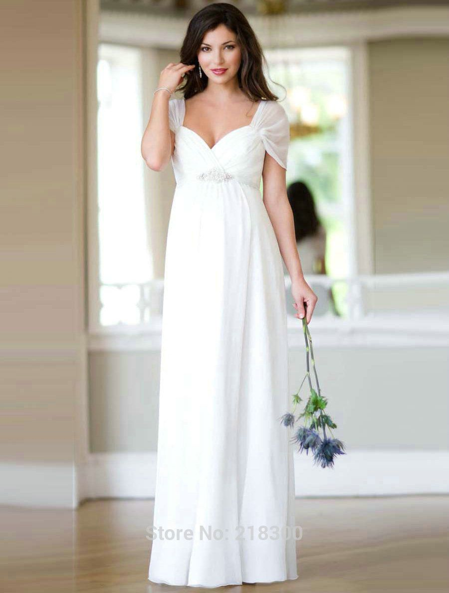 e7fb82def8 Find More Wedding Dresses Information about Empire Waist Cap Sleeves Maternity  Wedding Dresses Beaded Pleated Chiffon Beach Wedding Dress for Pregnant