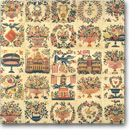The Mary Simon Quilt Top contains nine openwork baskets, the Baltimore Washington Monument, the U.S. Capitol, and more. The original quilt is very colorful.