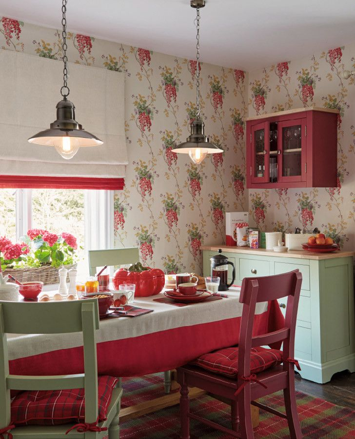 Wisteria Cranberry Floral Wallpaper English Country Dreams In 2019