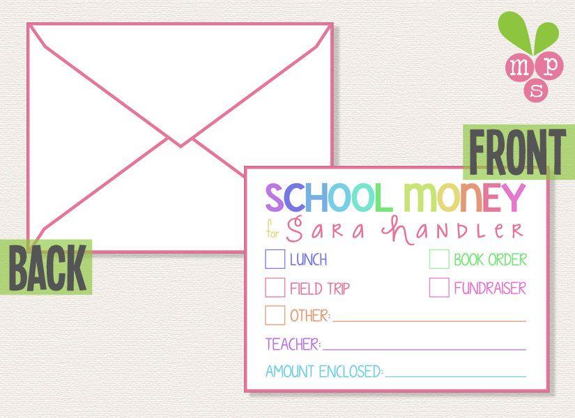 Unlimited Printable School Money Envelope Template Diy  Money