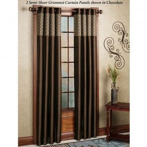 Attractive Interior Design With Curtain And Grommet Curtains Also Rods Side Table