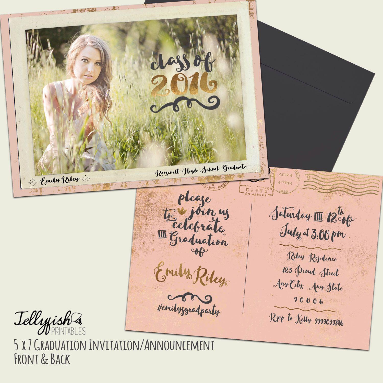 Modern Calligraphy Boho Senior Graduation Announcement – Graduation Postcard Invitations