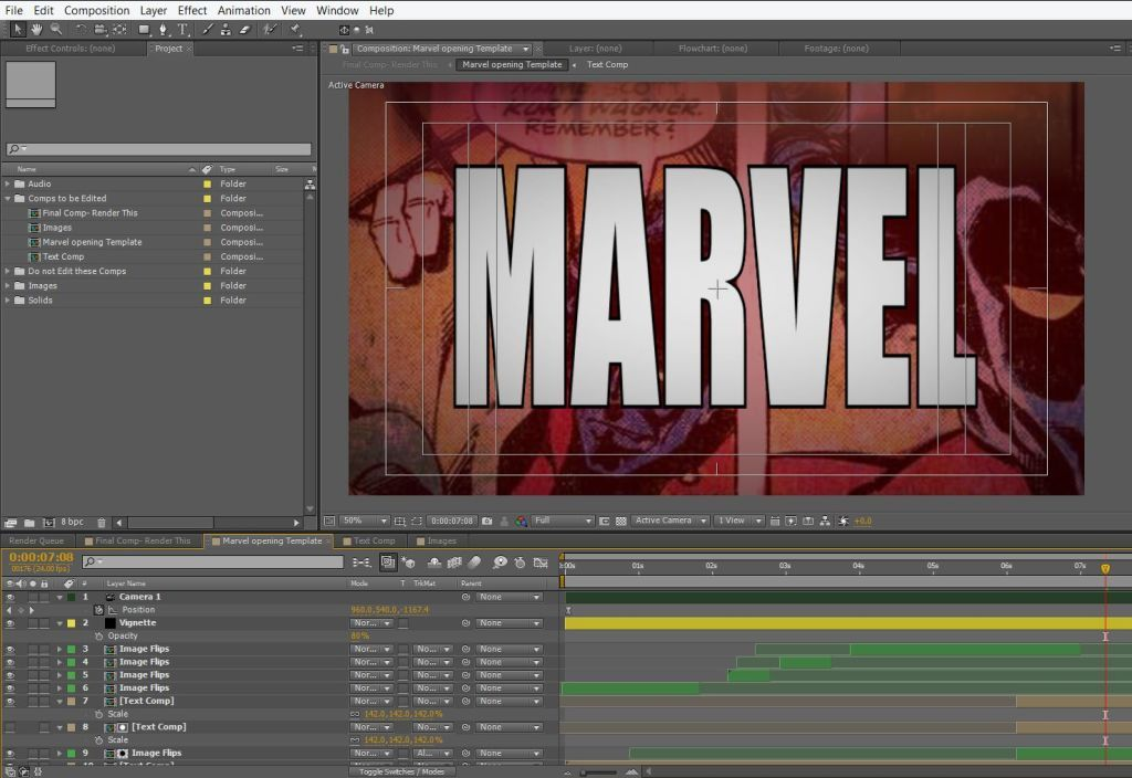 Marvel Opening Screen Free After Effects Template | motion
