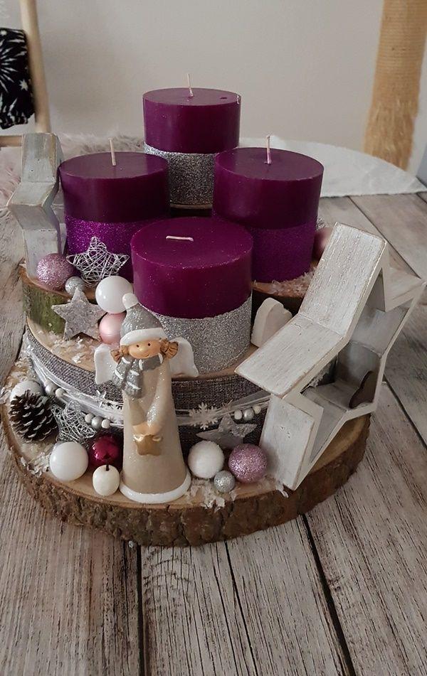unser Adventsgesteck aus Baumscheiben - Chaoshoch4 #holzscheibendeko