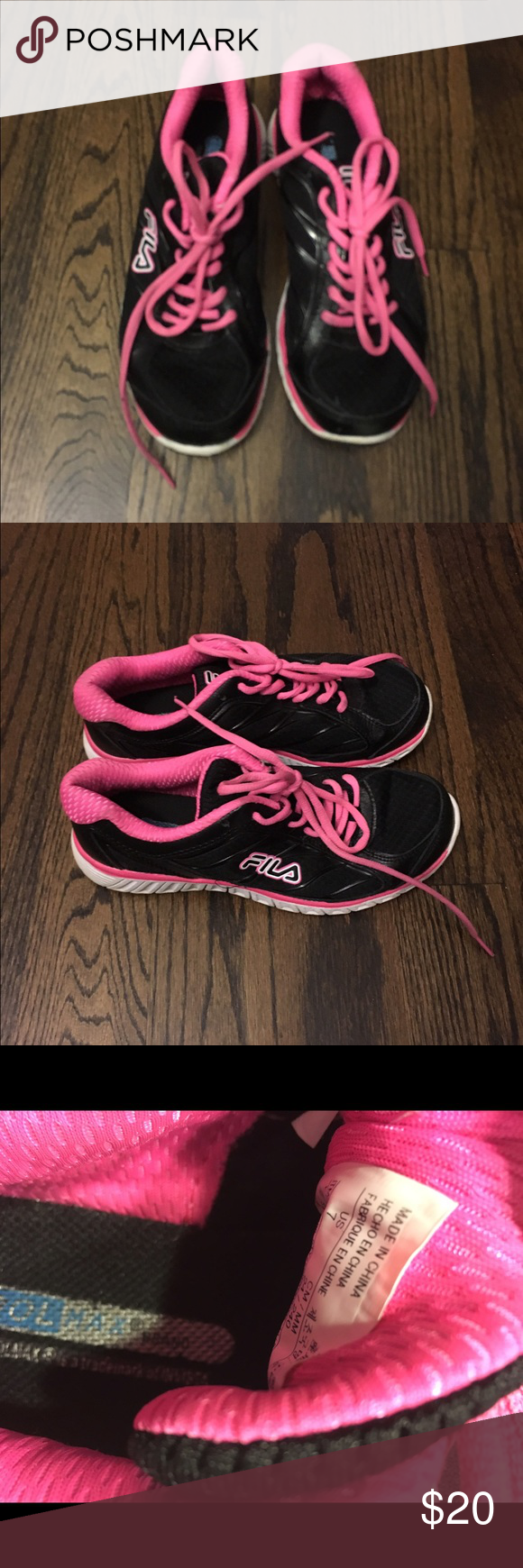 FILA Coolmax Gymshoes Coolmax. Size 7. Lightly worn. Pink and Black. Fila Shoes Sneakers