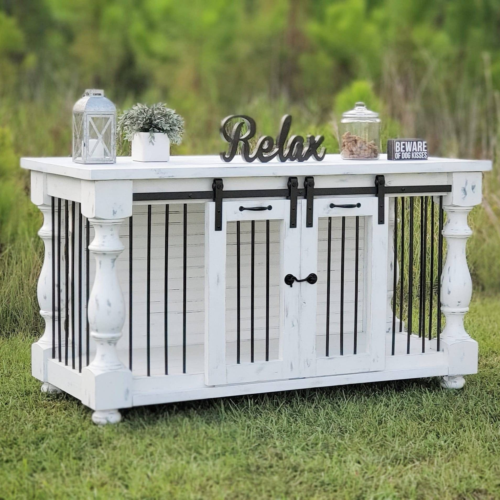 SALE Farmhouse Dog kennel rustic white dog crate furniture Free Shipping BEST Easy Lock Kennel
