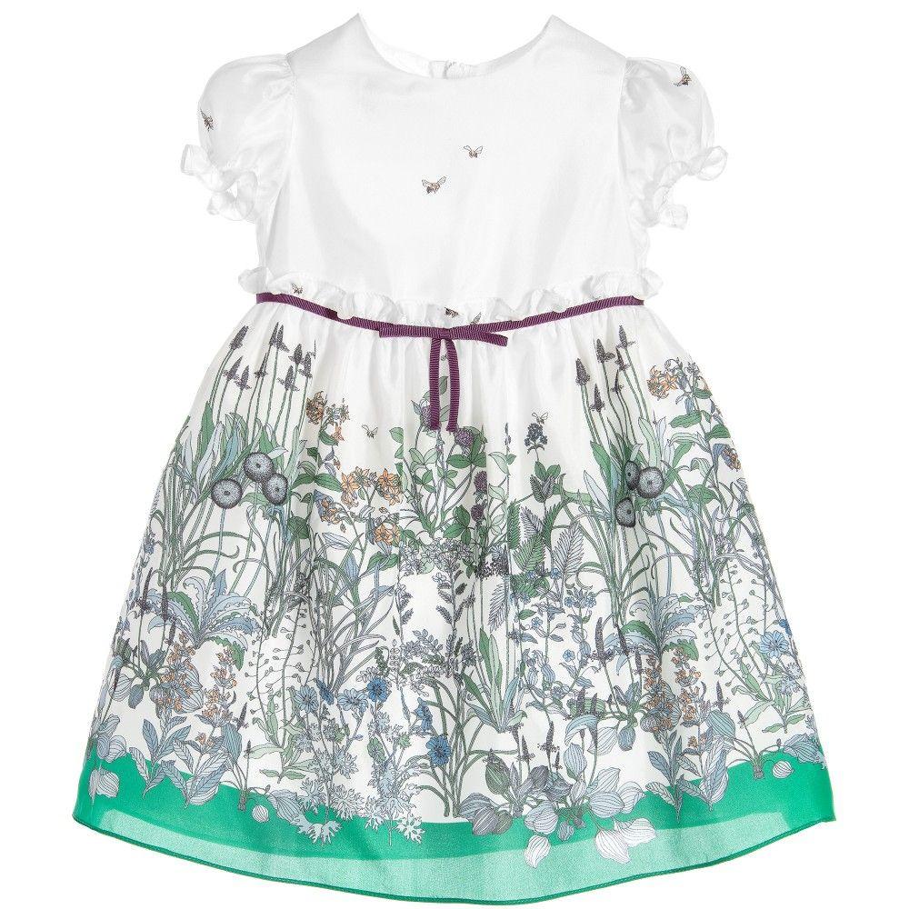 a6db6c7153ee Gucci Baby Girls Green Floral Silk Dress at Childrensalon.com | Baby ...