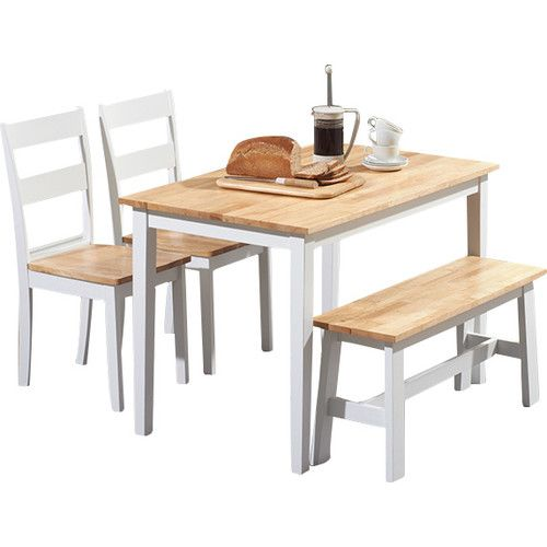 Saxon Dining Set With 2 Chairs And One Bench Oak Dining Table