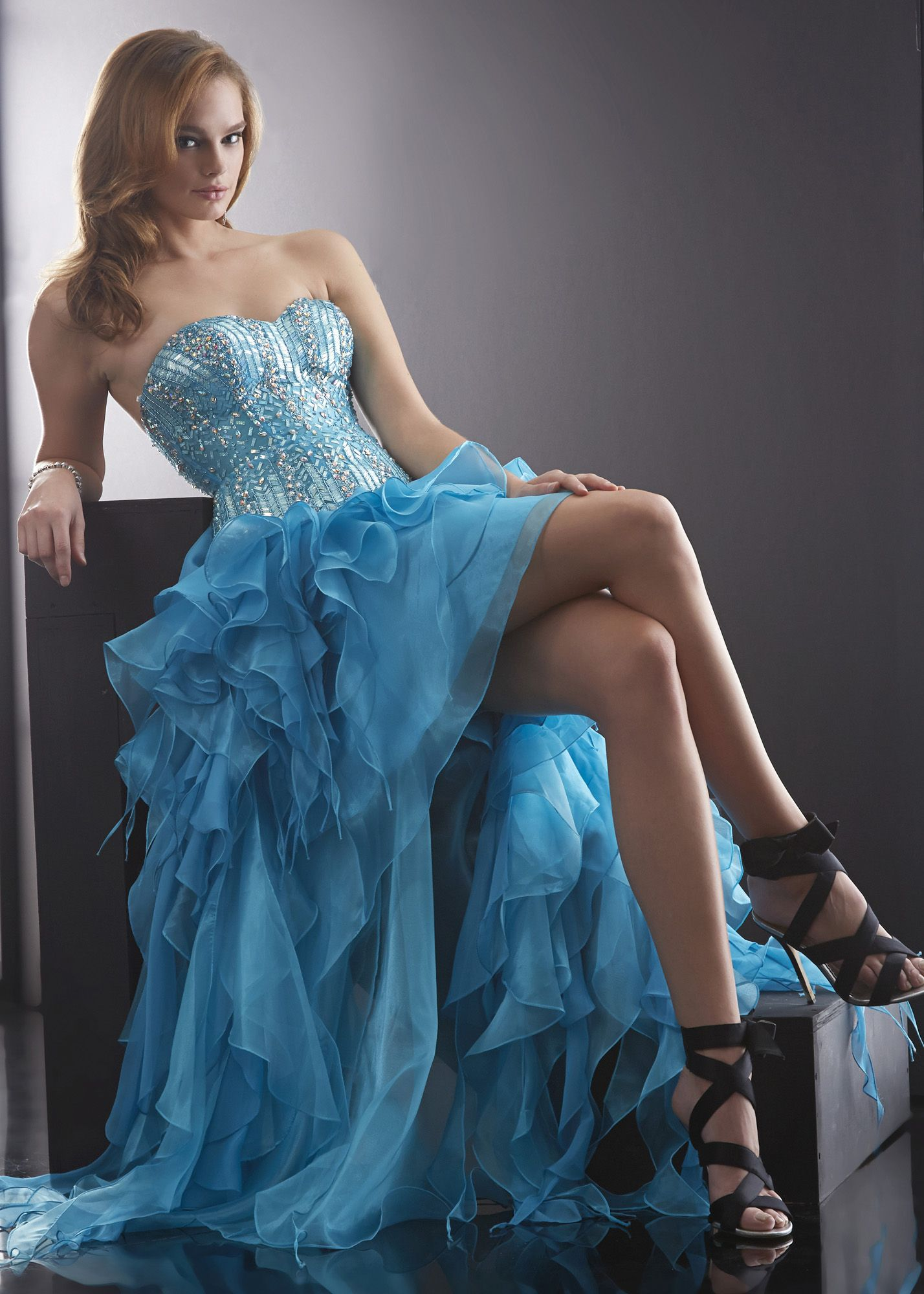 Turquoise High Low Beaded Ruffle Corset Prom Dress   prom dresses ...