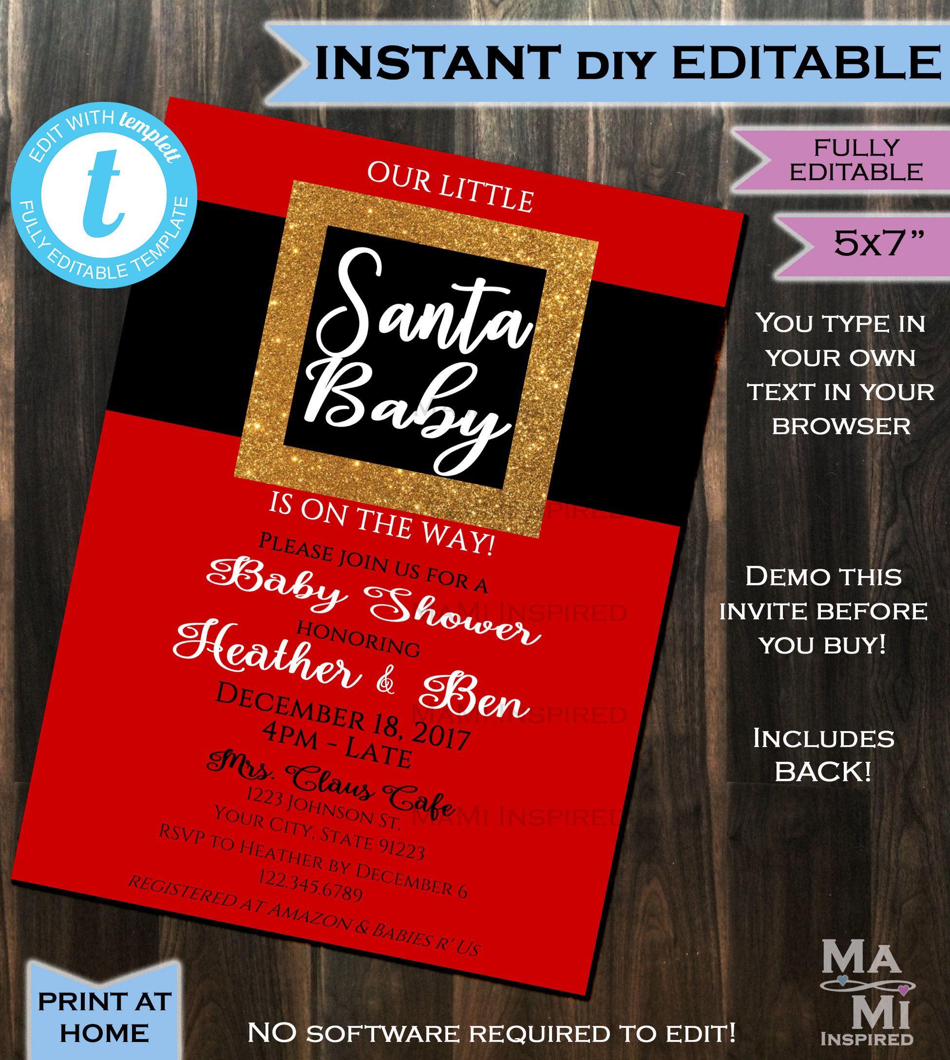 Santa Baby Invitation Christmas Baby Shower Invite Gift Baby Santa ...