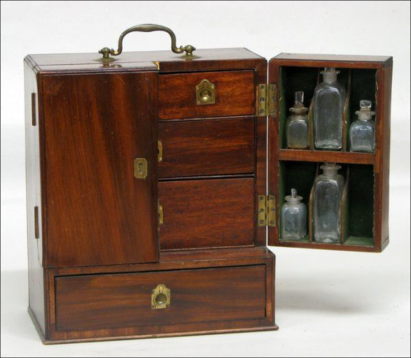 Georgian apothecary box. Portable BarPharmacologyMedical ... - Medicine Chest, C 1800. It Features A Series Of Drawers, And