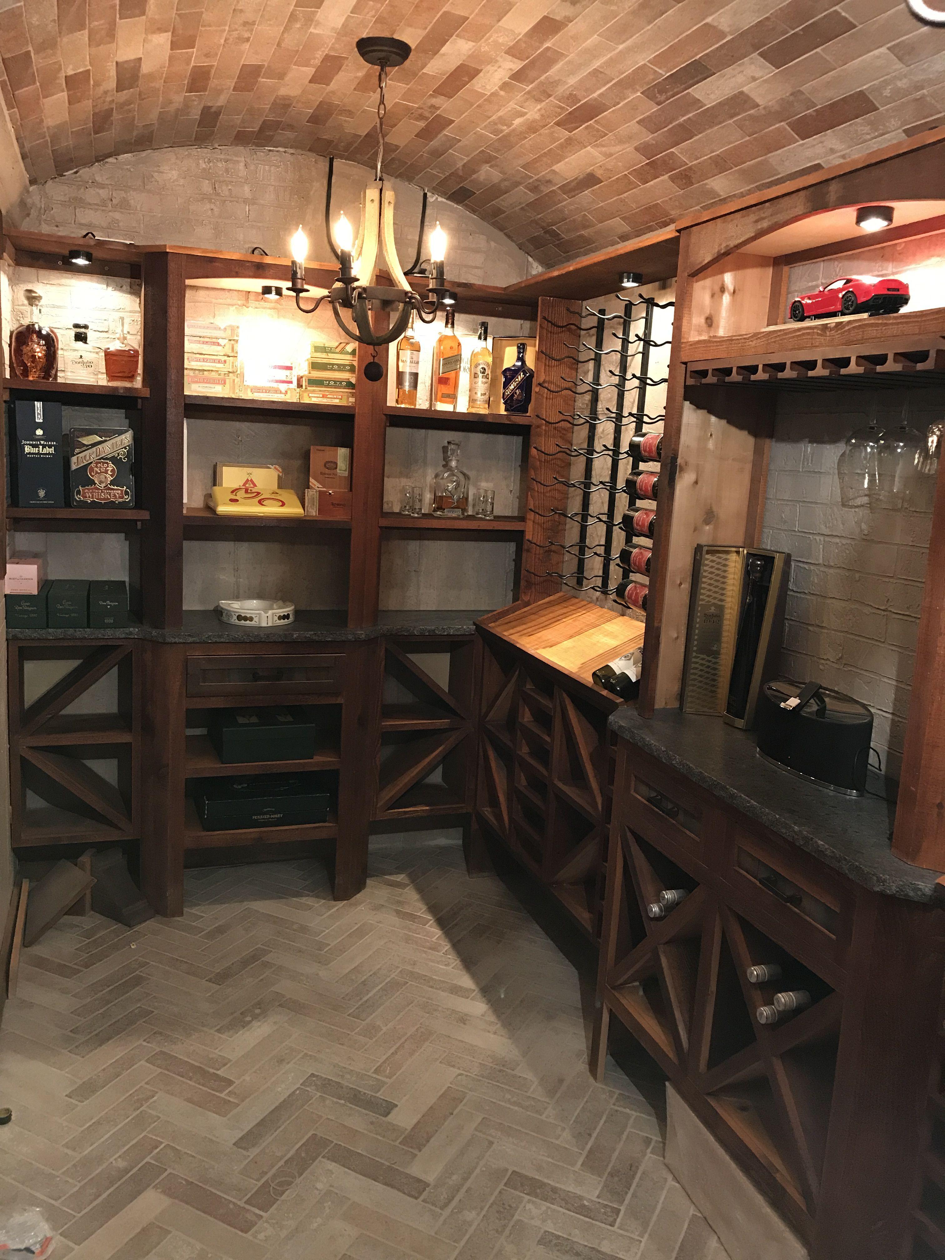 Barrel Brick Ceiling, Cedar Cabinetry, Brick Floors, Stone Walls