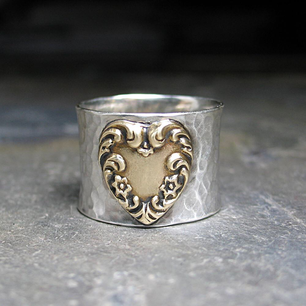 Wide Band Heart Ring, Hammered Sterling Silver and Brass - Renaissance Heart