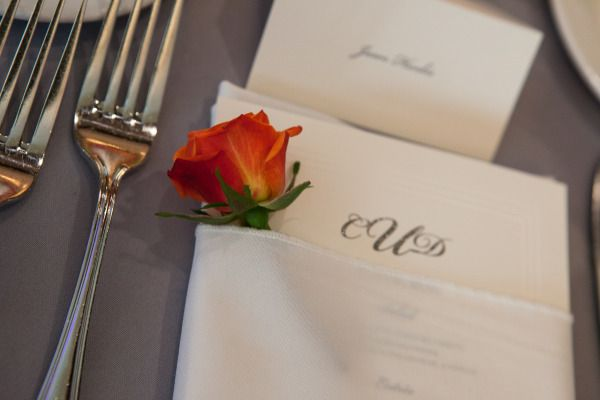 We love the floral accent next to the beautiful shimmer menu card!