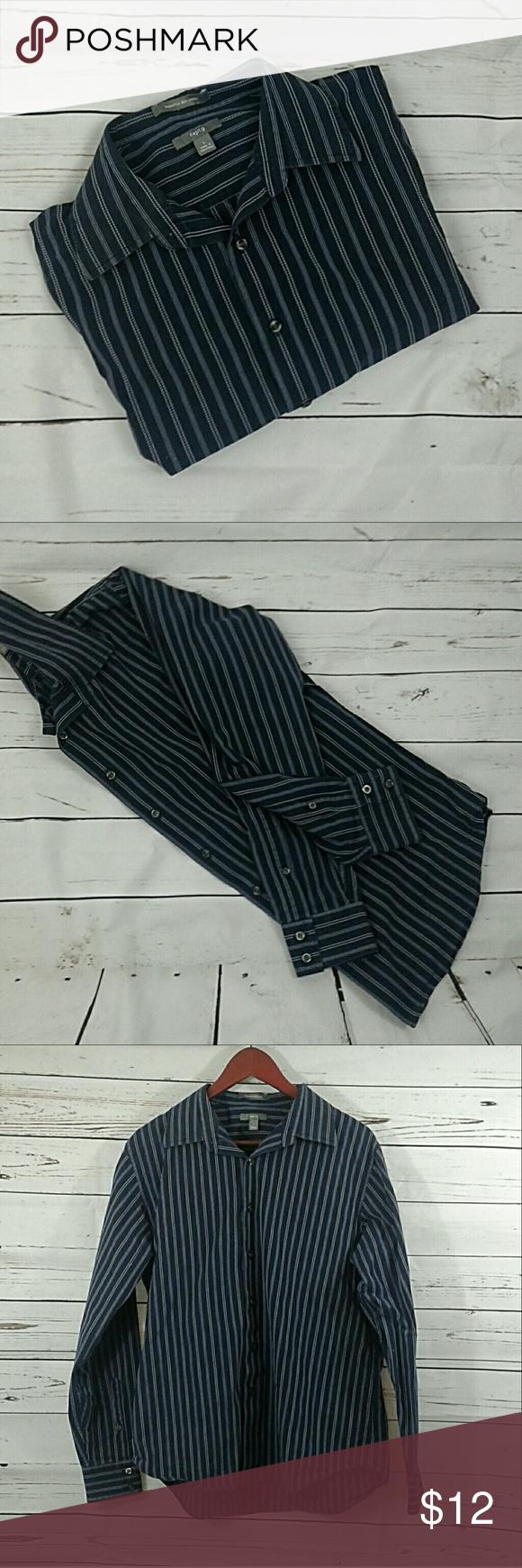 Apartment 9 Dark Blue Dress Shirt Dark Blue With White Pin Stripe