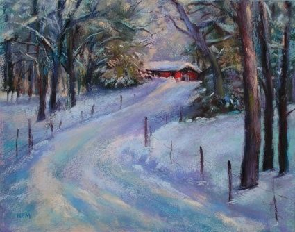Winter Soft Pastel Landscapes Winter Landscape Pastel Original Painting By Artist Karen Margulis Winter Painting Landscape Paintings Landscape Drawings