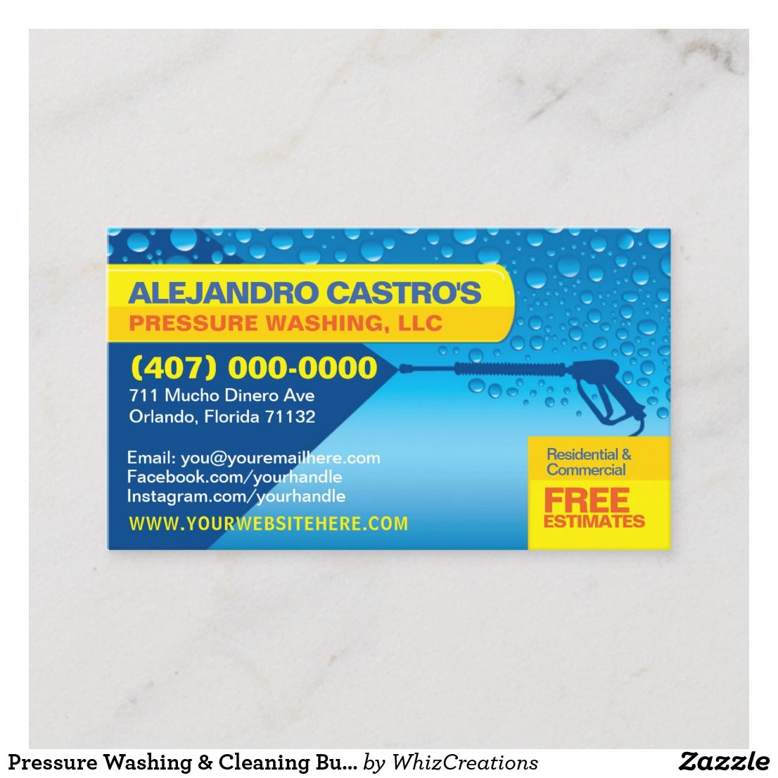 Pressure Washing Cleaning Business Card Template Custom Business