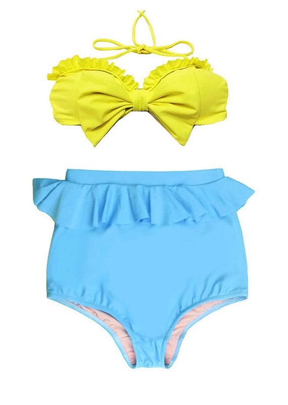 Yellow Bow Bra Top And Blue Peplum High Waisted By