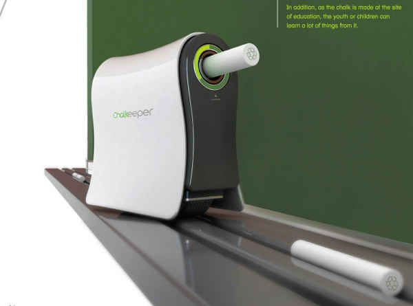 A chalkboard trolling gadget that converts chalk dust to new sticks of chalk. |…