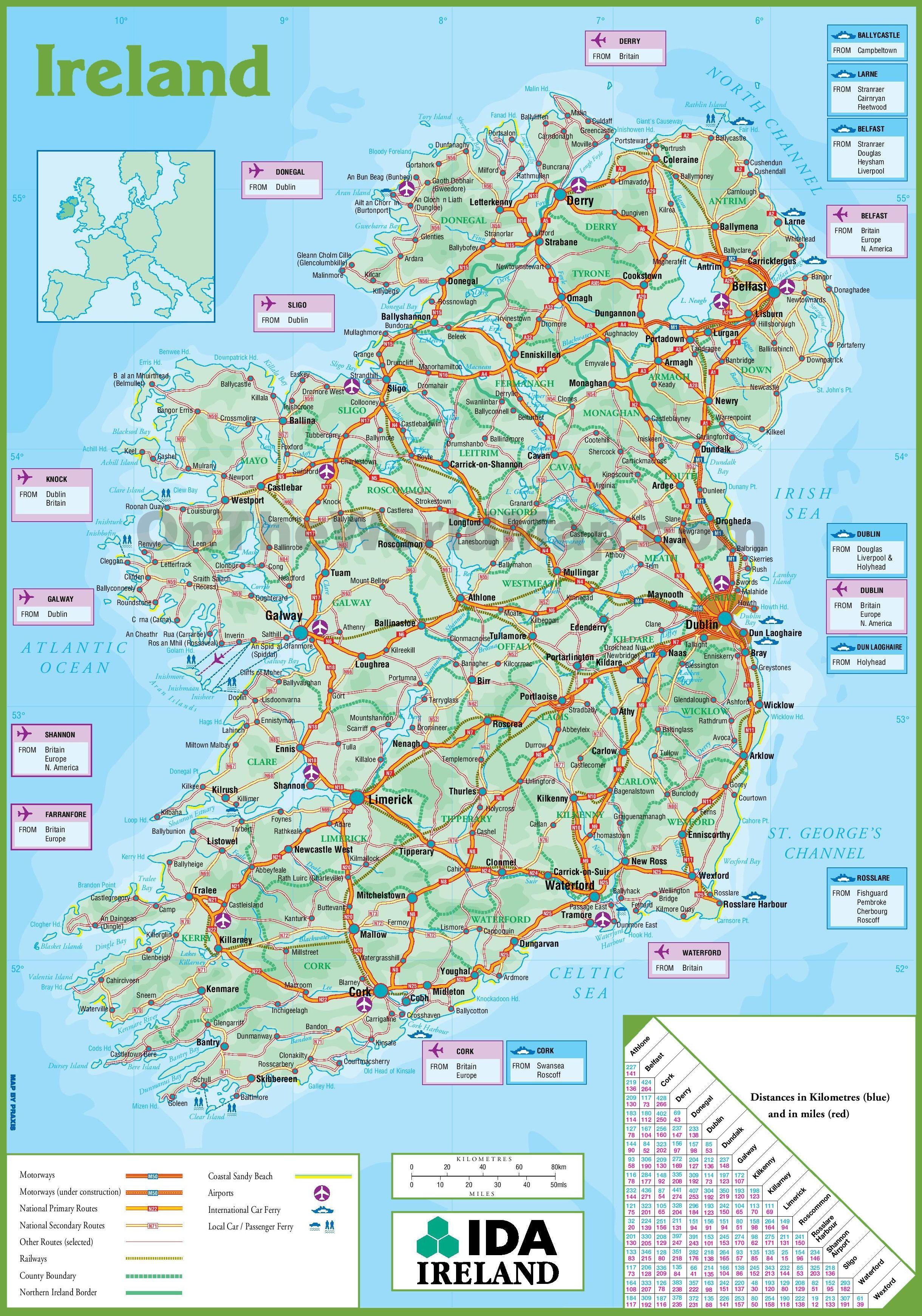 Ireland Road Map Ireland Map Map Ireland