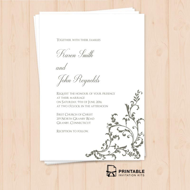 Free Printable Pdf Invitation Template Editable Texts Print At Home Wedding Invitation Kits Printing Wedding Invitations Free Printable Wedding Invitations