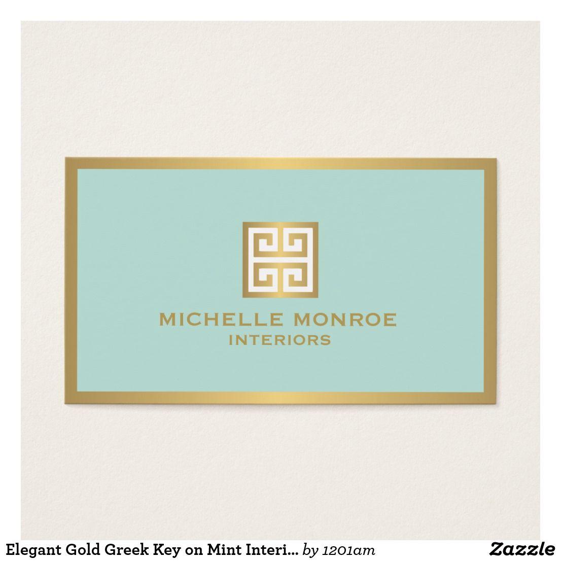 Gold Greek Key On Mint Interior Designer Business Card Zazzle Com Business Card Design Interior Design Business Mint Background