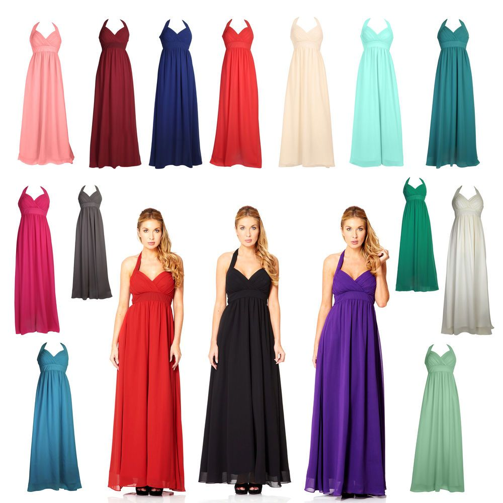 Long Chiffon Wedding Evening Formal Party Ball Gown Prom UK Dress ...