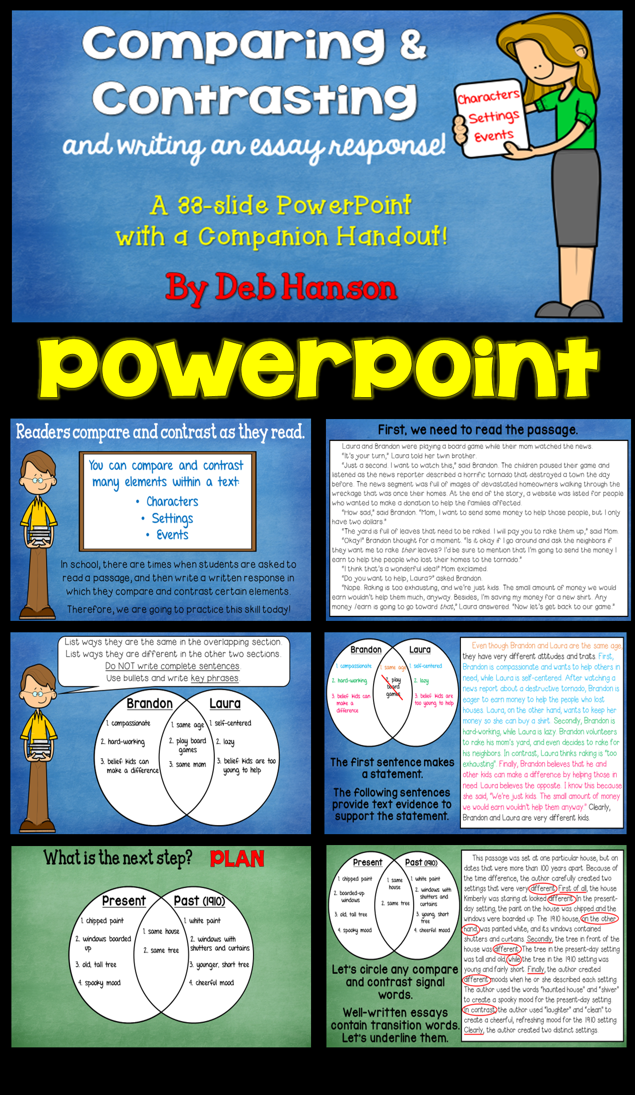 Teach Your Upper Elementary And Middle School Students To Compare Contrast Characters Settings Events In Reading With This