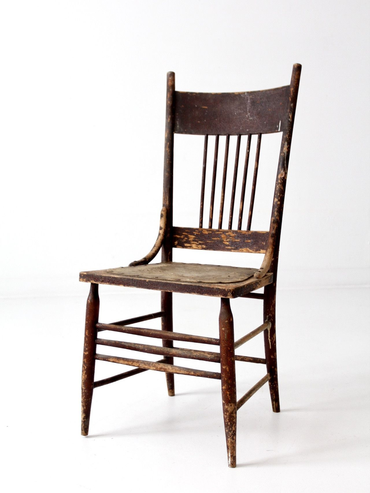 Antique Spindle Back Chair With Pressed Leather Seat Chair Leather Seat Wooden Chair