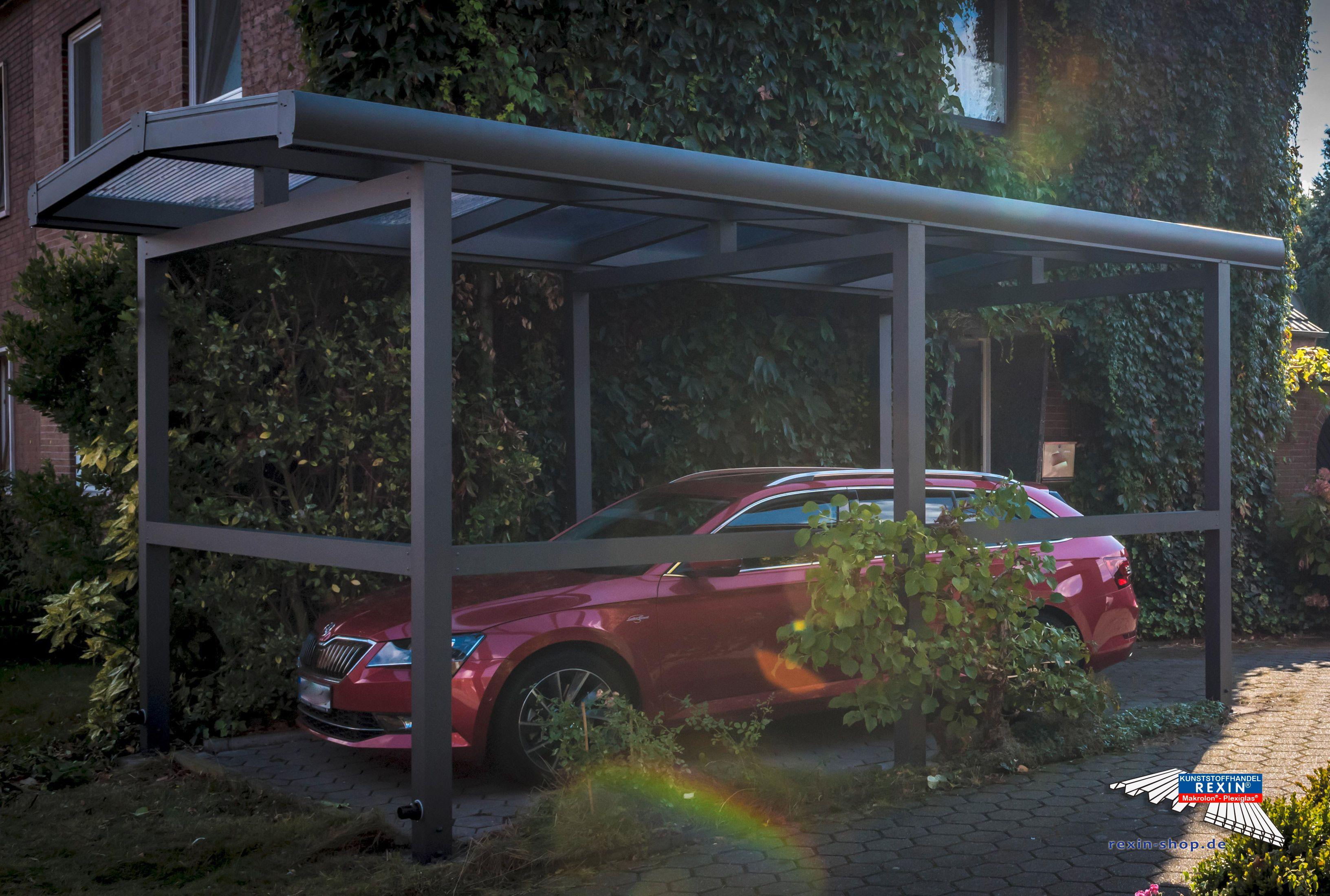 alu carport der marke rexoport 3m x 6m anthrazit mit einer pfostenverl ngerung auf 2 70m und. Black Bedroom Furniture Sets. Home Design Ideas