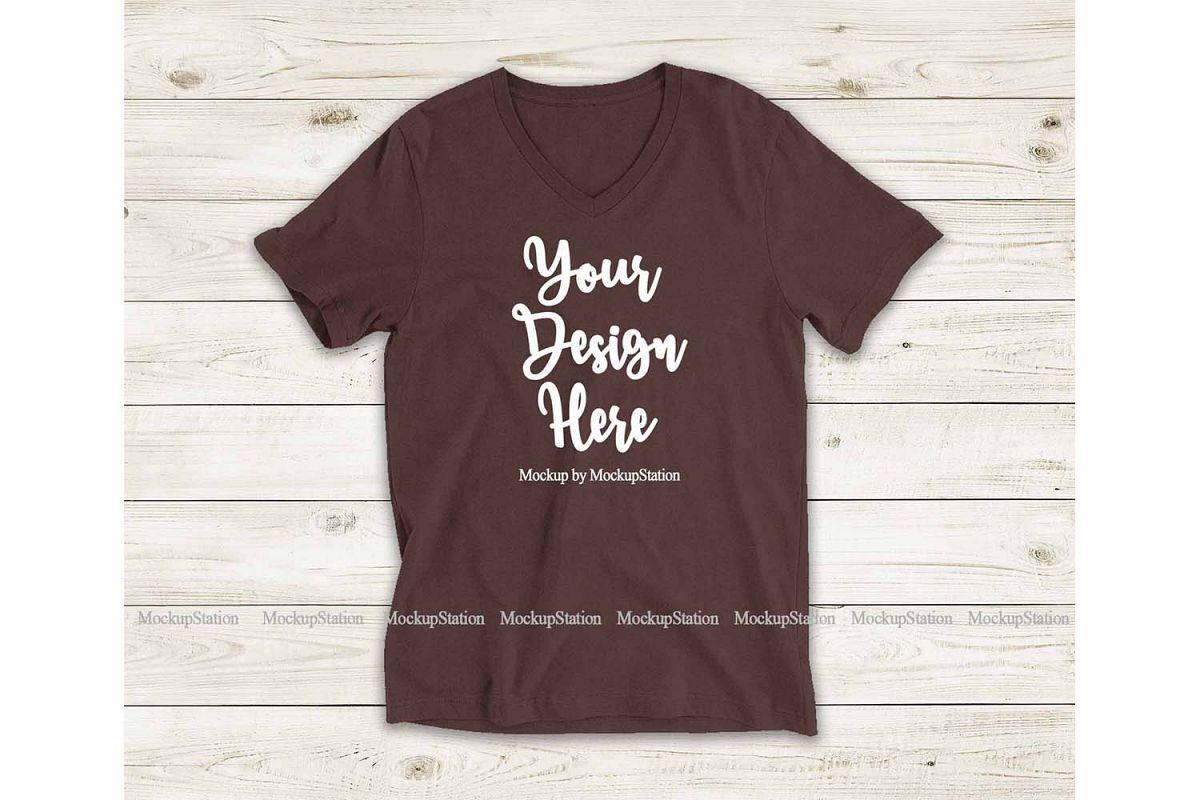 Download Brown Shirt Mock Up Bella Canvas 3005 V Neck Tee Mockup 245847 Clothing Design Bundles Brown Shirt Clothing Mockup V Neck Tee