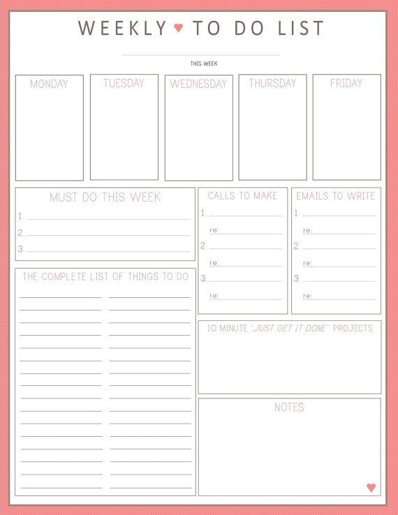 BEST TO DO LIST EVER Weekly To Do List 1sheet PRINTable by – Free Printable Daily to Do List Template